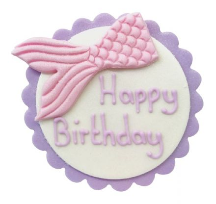 Happy Birthday Mermaid Tail Plaque Sugar Decoration